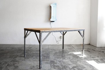 SOLD - Reclaimed Wood and Steel Table, c. 1940s
