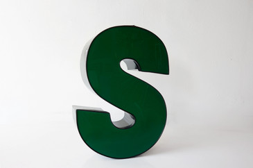 "SOLD - Vintage Channel Letter ""S"" in Forest Green - Large"