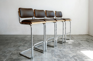SOLD - Vintage Tubular Chrome Bar Stools, Set of Four, Refinished