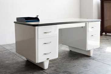 AllSteel Bumper Top Tanker Desk with Pontoon Legs - REFINISHED TO ORDER