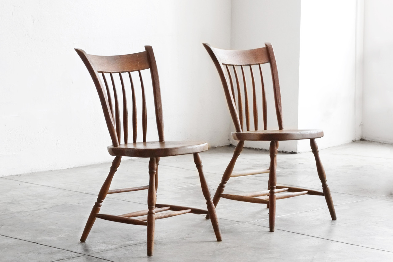 SOLD   Pair Of Primitive Early American Spindle Side Chairs, Antique