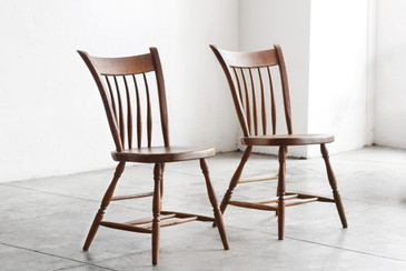 SOLD - Pair of Primitive Early American Spindle Side Chairs, Antique