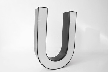 "SOLD - Vintage Channel Sign Letter ""U"" in White - Large, Modern Font"
