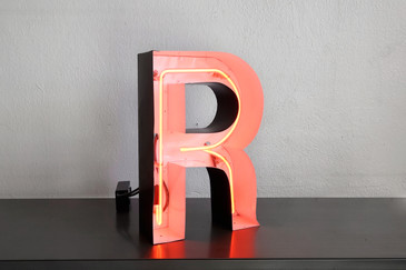 "SOLD - Vintage Channel Sign Letter ""R"" with Red Neon in Black and White Frame"
