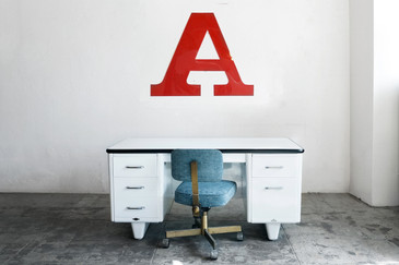 "SOLD - Jumbo Vintage Letter ""A"" Wall Hanging, Letterman Font, 1960s"