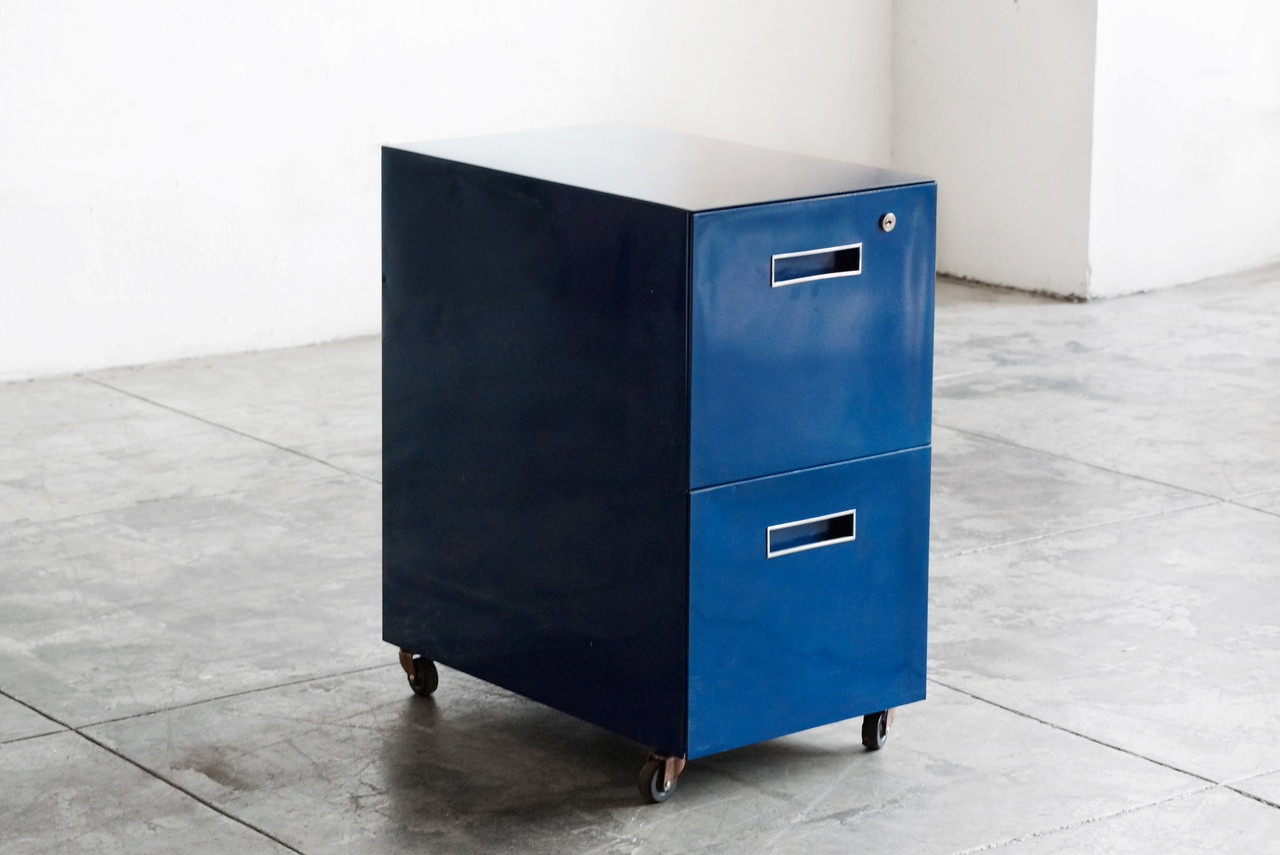 Delicieux SOLD   Vintage File Cabinet On Casters, Refinished In Navy Blue