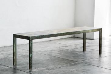 SOLD - Rehab Original - Steel and Alder Wood Bench