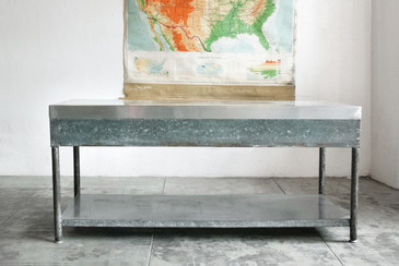 SOLD - Galvinized Steel Industrial Work Table/ Display Table, c. 1960s