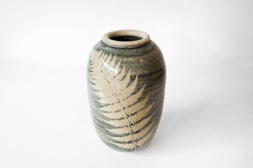 SOLD - Large Ceramic Vase with Fern, Signed GREIST