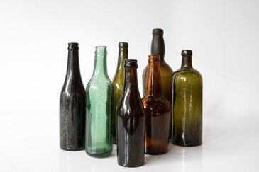 SOLD - Collection of 7 Vintage Glass Bottles