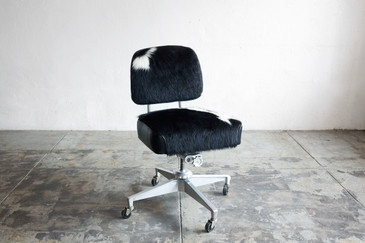 SOLD - Vintage Armless Task Chair in Cowhide