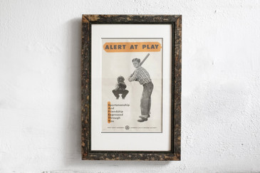 Alert at Play- Mid Century PSA Poster, Framed
