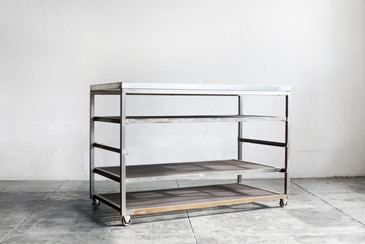 Custom Built Steel Rolling Rack with Expanding Shelves
