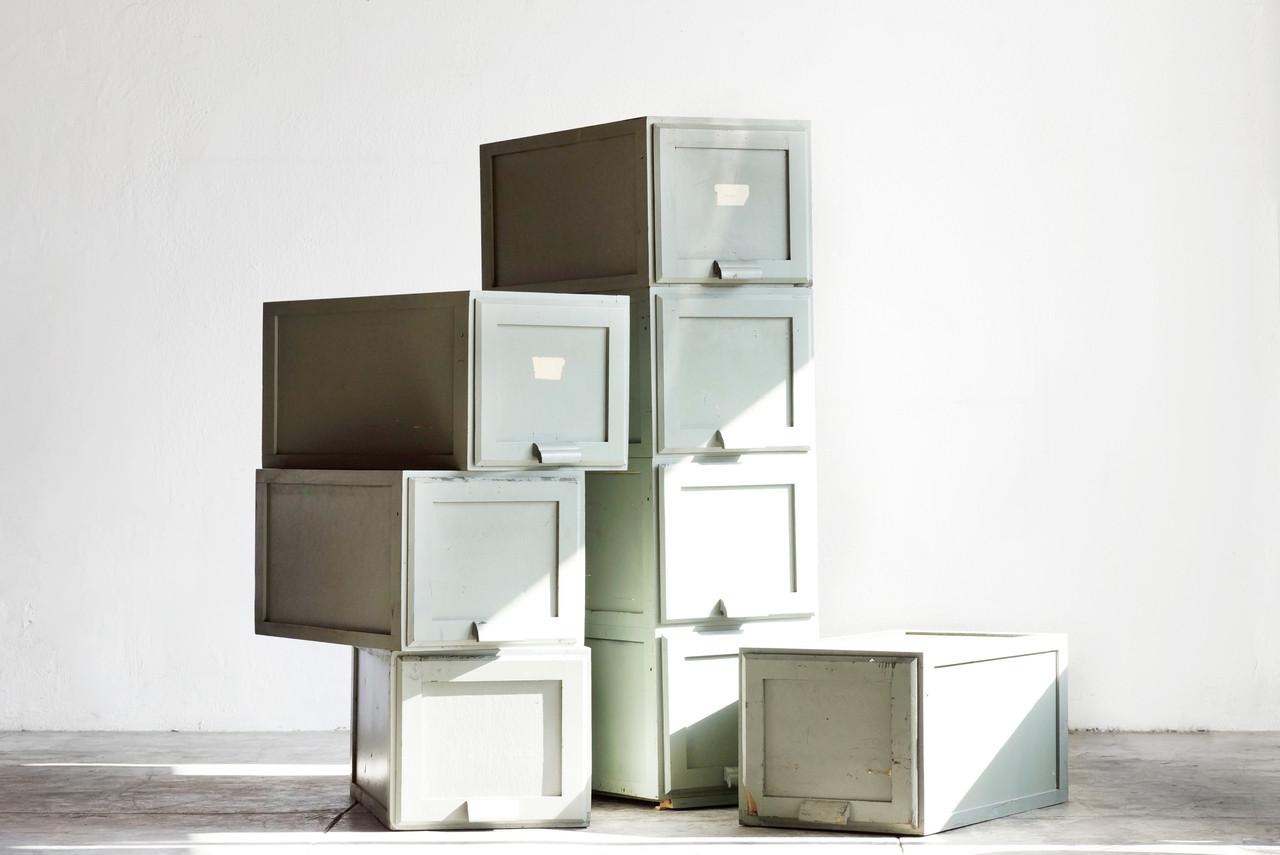 Marvelous SOLD   Vintage Wood Filing Cabinet Boxes, Stackable
