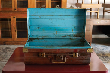 SOLD - Antique English Steel Trunk, with Crown, c. 19th Century