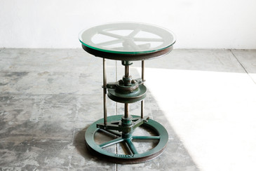 Reclaimed Antique Cast-Iron and Glass Industrial Side Table