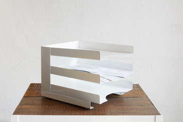 SOLD - Vintage Desktop File Holder, Refinished in White