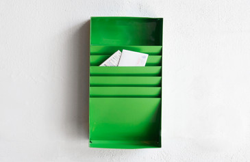 SOLD - Retro Office File Holder/ Magazine Rack, Refinished in Lime Green
