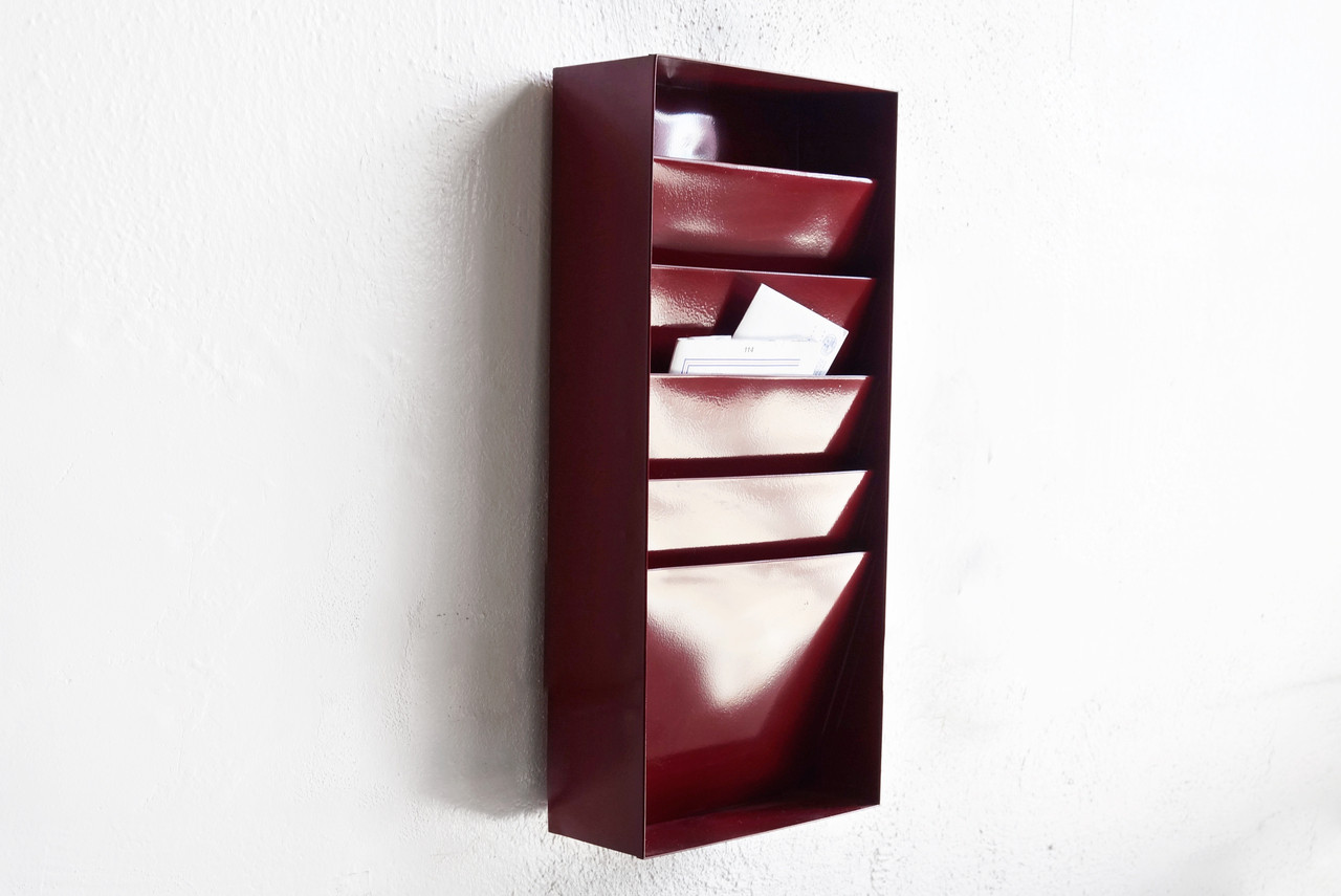 SOLD   Retro Office File Holder/ Magazine Rack In Wine