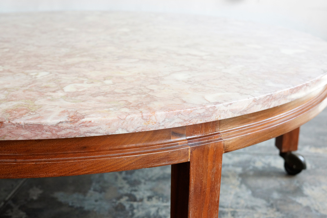 Sold vintage pink marble and walnut round coffee table for Marble and walnut coffee table