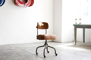 SOLD - 1940s Steelcase Task Chair in Cowhide
