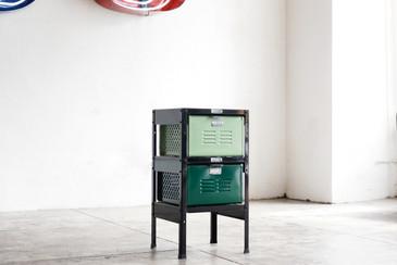1 x 2 Vintage Locker Basket Unit, Refinished in Greens