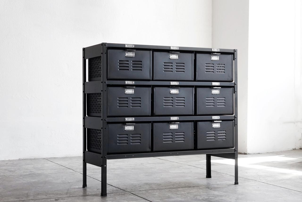 3 x 3 vintage locker basket unit refinished in matte for House lockers
