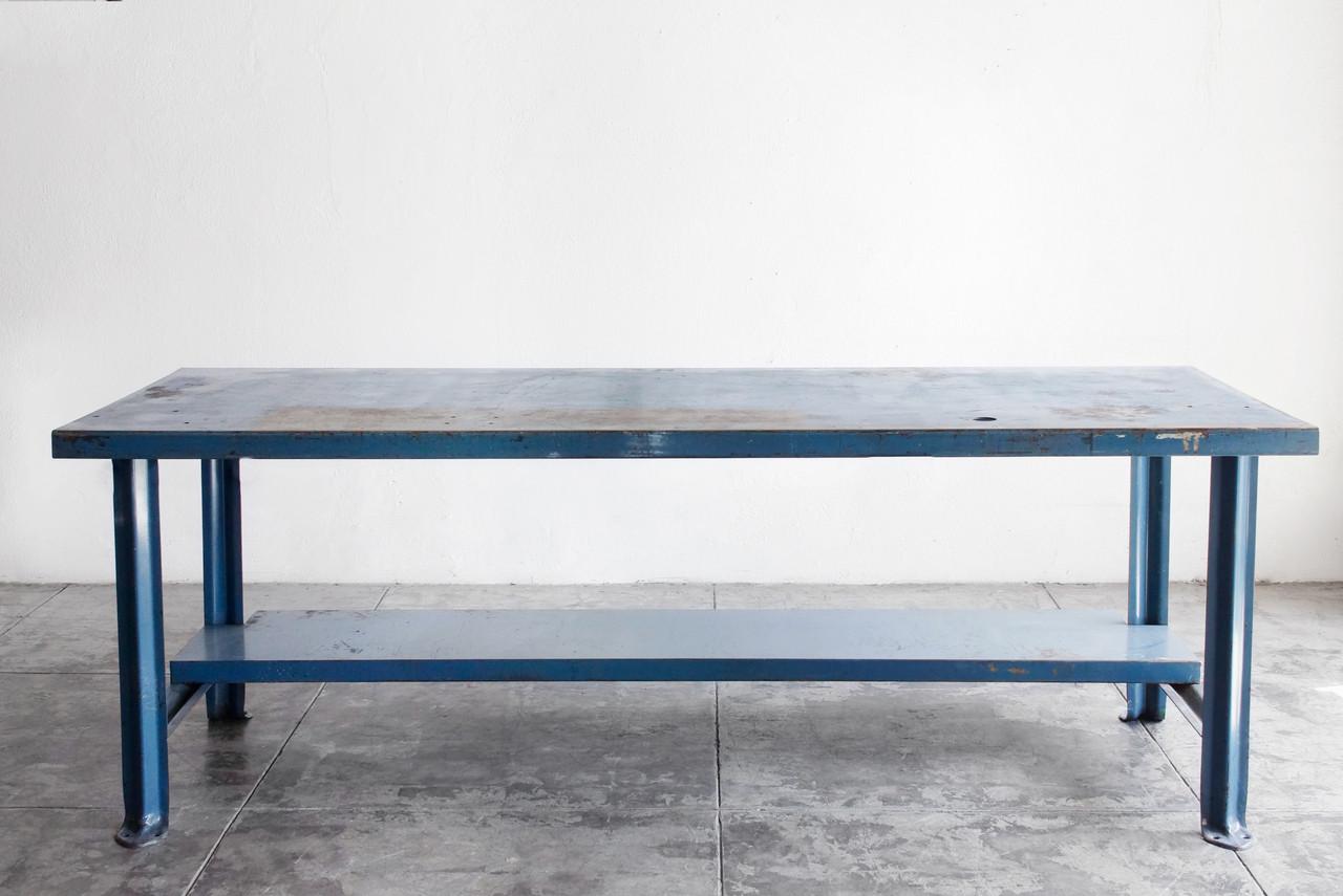 sold industrial steel workbench in blue c 1950s rehab vintage interiors