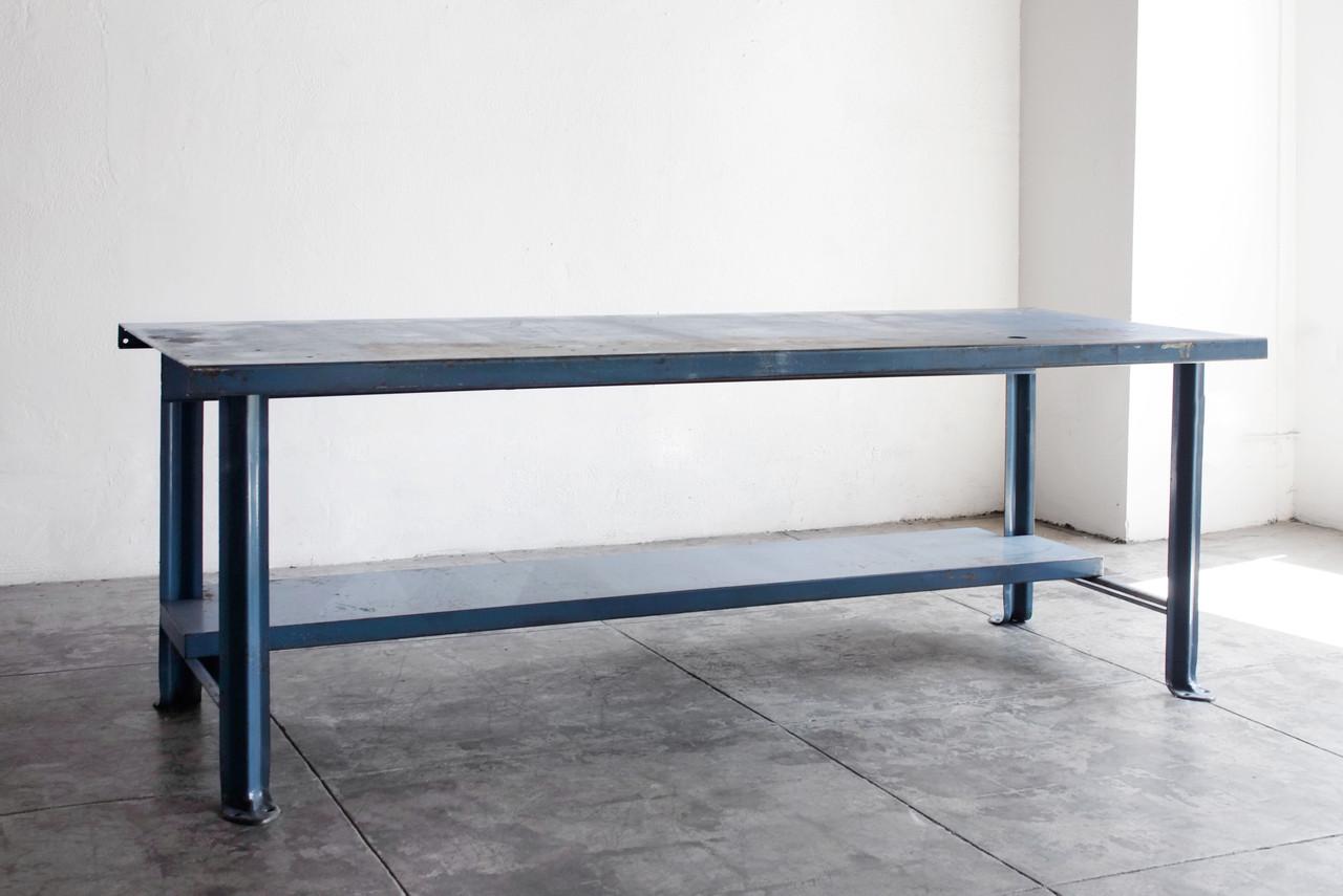 sold industrial steel workbench in blue c 1950s