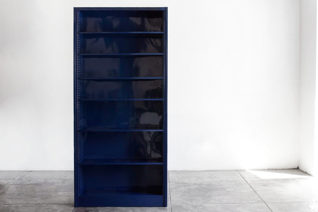 Blue Bookcase classic steel tanker bookcase, refinished - rehab vintage interiors