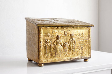 SOLD - Large Antique Brass Coal Bin, England, c. 1890