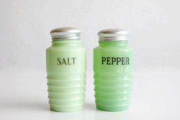 SOLD - Jadeite Beehive Salt and Pepper Shaker Set, 1930s