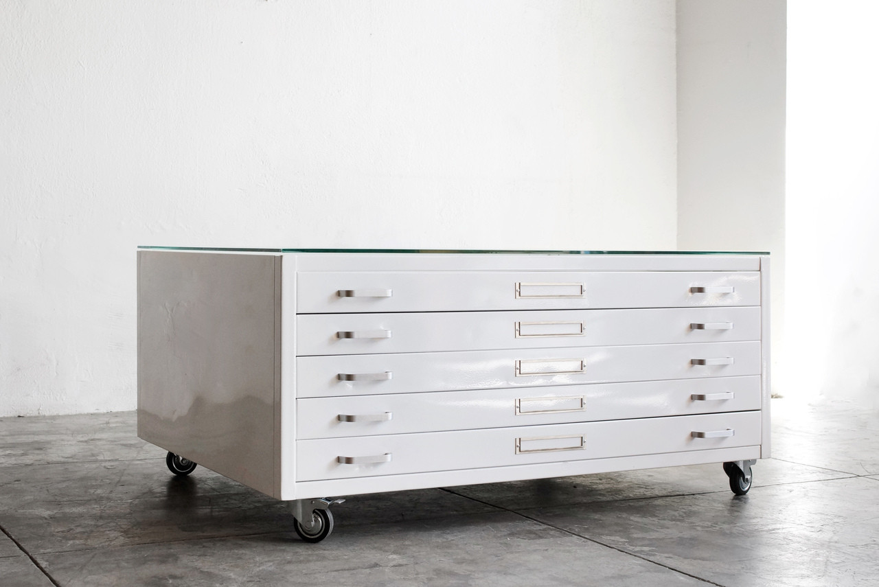 Flat File Coffee Table, Gloss White, Stainless Hardware, Medium   SPECIAL  ORDER