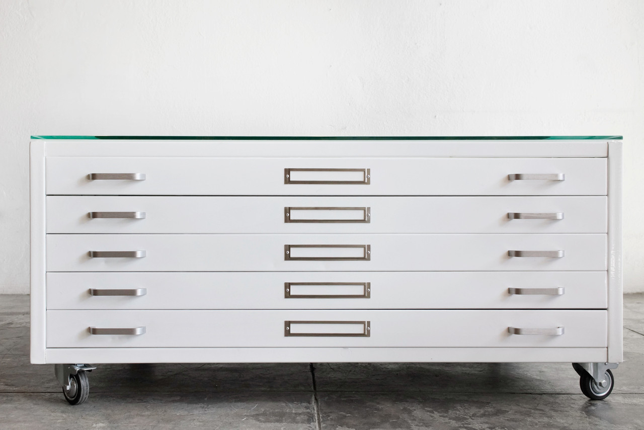 Elegant Flat File Coffee Table In Gloss White, Size Medium   CUSTOM ORDER