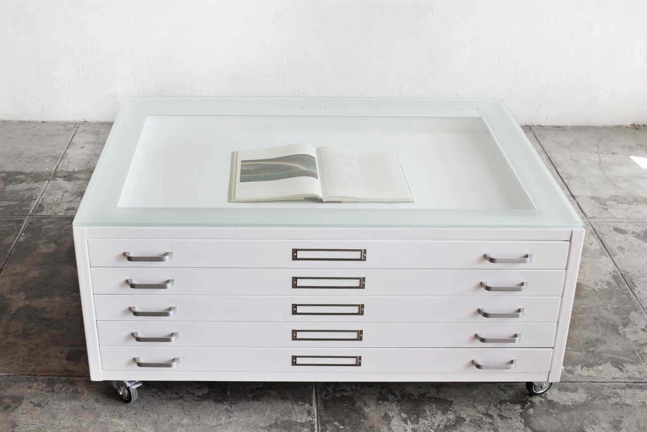 Flat File Coffee Table In Gloss White Size Medium Custom Order Rehab Vintage Interiors