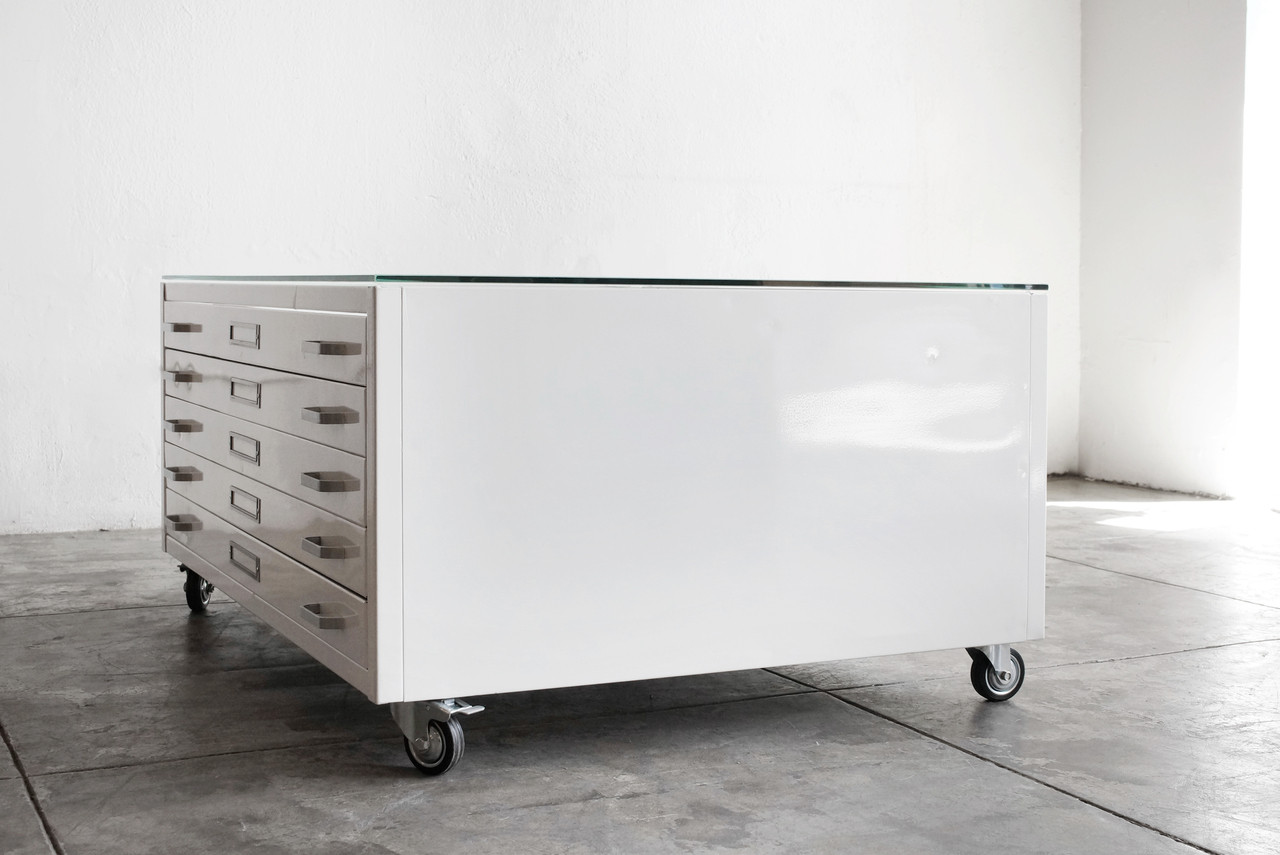 flat file coffee table, gloss white, stainless hardware, medium