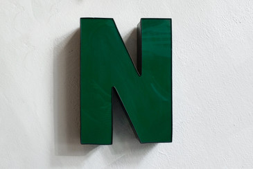"SOLD - Vintage Channel Letter ""N"" in Forest Green - Large"