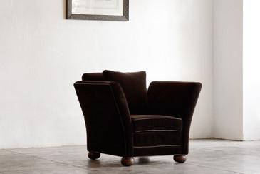 Large Vintage Club Chair in Brown Velvet
