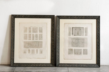 Pair of Large Egyptian Themed Book Plates, Framed