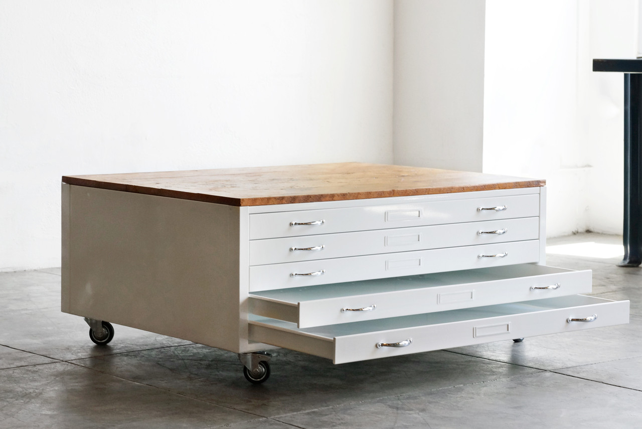 High Quality Flat File Coffee Table In High Gloss White With Reclaimed Wood   SPECIAL  ORDER