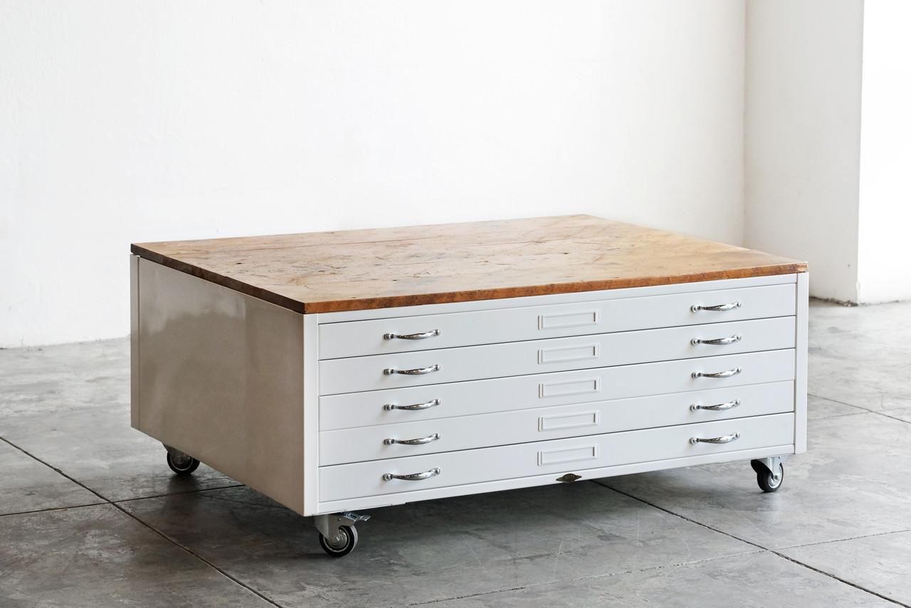 Flat file coffee table flat file coffee table in gloss white with reclaimed wood custom malvernweather Gallery