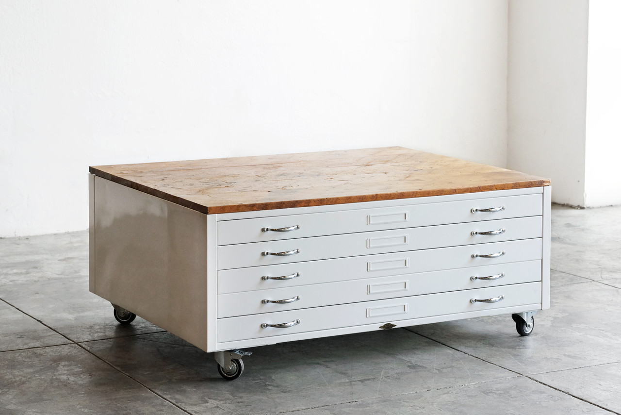 Flat file coffee table in gloss white with reclaimed wood custom image 1 malvernweather