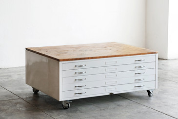 Flat File Coffee Table in High Gloss White with Reclaimed Wood - SPECIAL ORDER