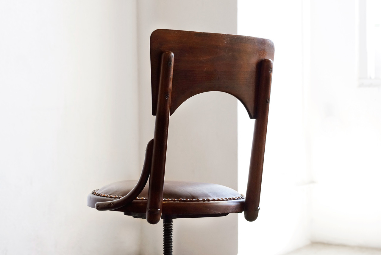 SOLD   Antique Wood Drafting Stool, C. 1890s