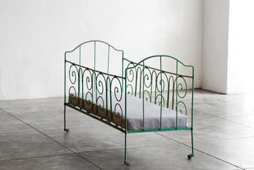SOLD - Antique French Wrought Iron Baby Crib