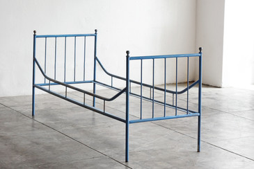 Vintage Industrial Steel Bed Frame, 1920s