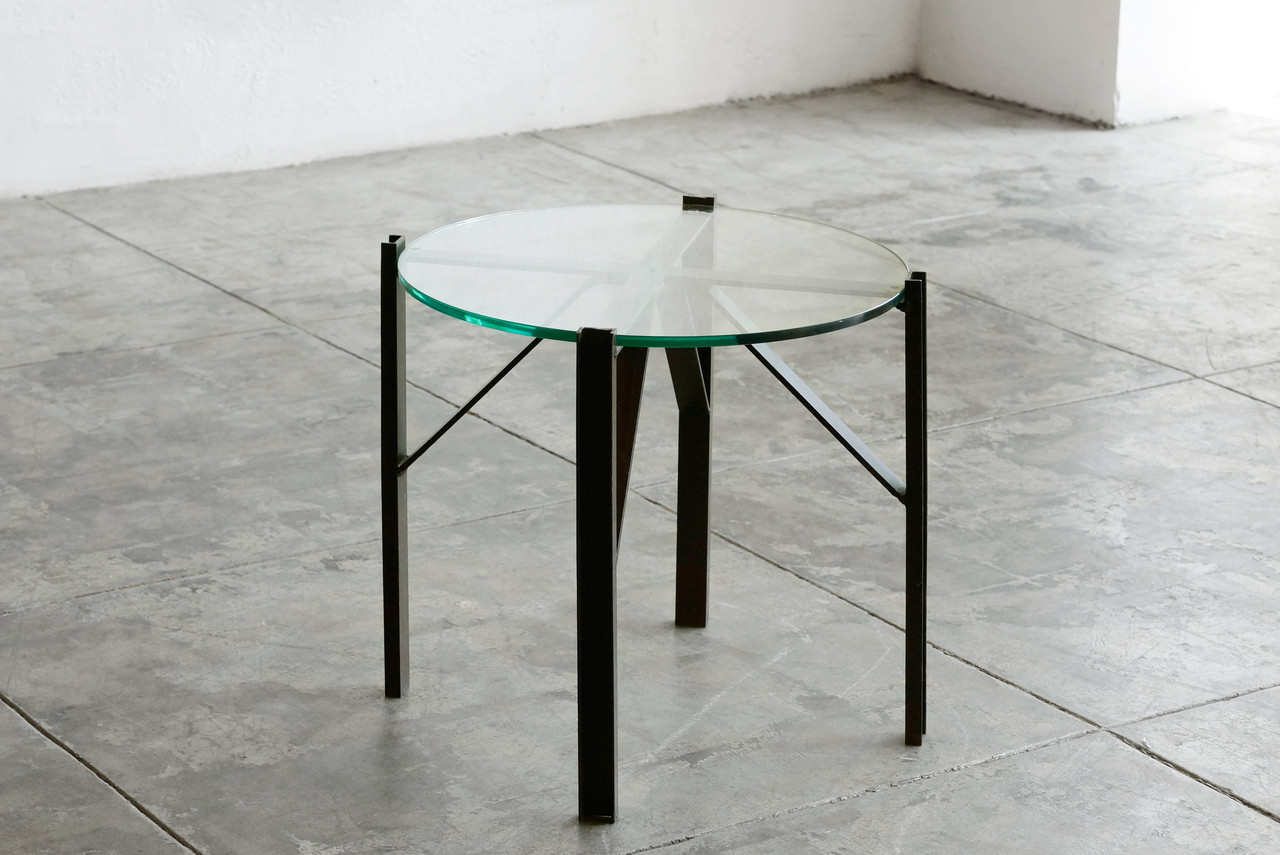 SOLD   Custom Made Industrial Side Table, Oxidized Steel And Glass