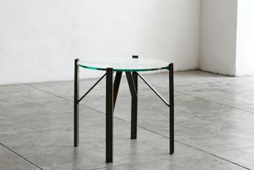 SOLD - Custom Made Industrial Side Table, Oxidized Steel and Glass