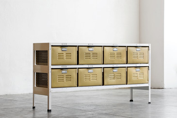 4 x 2 Vintage Locker Basket Unit in Sun Gold and White
