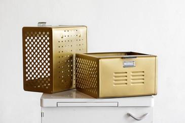 1950s Reclaimed Locker Basket Refinished in Sun Gold